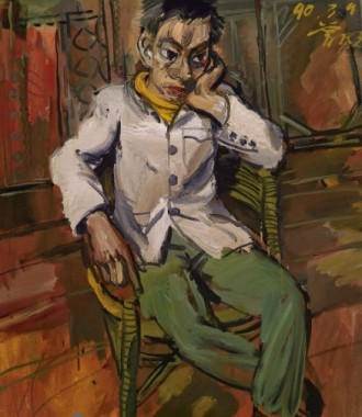 """Zeng Fanzhi's """"A Man in Melancholy"""" (1990) sold in Hong Kong for US$1.3 million, nearly a million dollars over its high estimate of $310,000. Chinese collectors have shown a particular affinity for Zeng in recent years"""