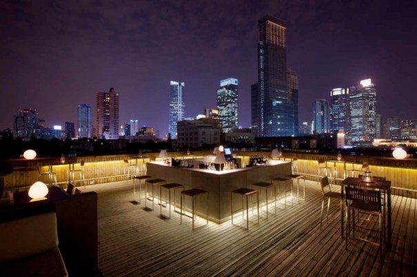 Roof deck with 360 degree views of the Shanghai skyline